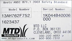 Étiquette plaque numéro de série MTD